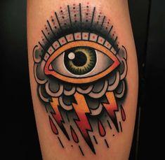 Eye clouds traditional tattoo eye, tattoo project, old tattoos, life ta Traditional Tattoo Eye, Traditional Tattoo Old School, Storm Tattoo, Cloud Tattoo, Body Art Tattoos, New Tattoos, Sleeve Tattoos, Tatoos, Hand Tattoos