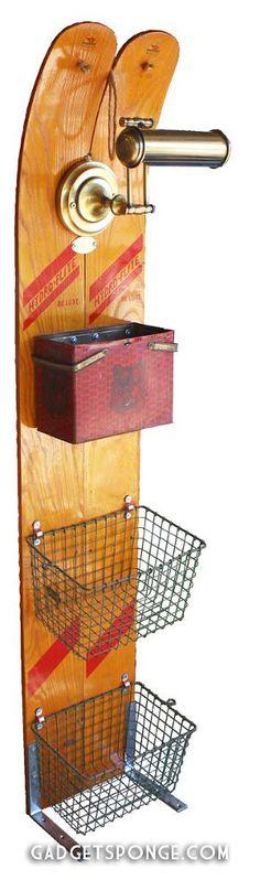 Repurposed Vintage Water Skis + Lighted Storage Organizer