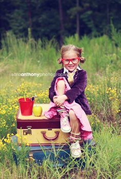 back-to-school.  CUTE!  by sara anthony photography...I need to get a couple vintage suitcases!