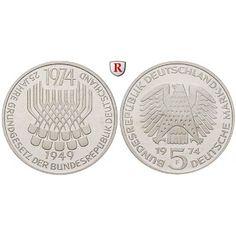 Bundesrepublik Deutschland, 5 DM 1974, Grundgesetz, F, vz-st, J. 413: 5 DM 1974 F. Grundgesetz. J. 413; vorzüglich-stempelfrisch… #coins