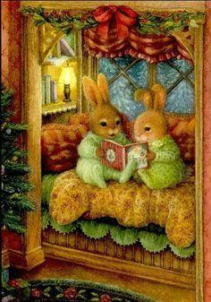 Illustration/Painting by Susan Wheeler from her Holly Pond Hill Book. Susan Wheeler, Christmas Art, Vintage Christmas, Christmas Bunny, Christmas Pictures, Lapin Art, Art Fantaisiste, Art Mignon, Bunny Art