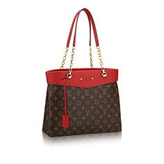 """Pallas Shopperkey: A glamorous addition to the Pallas line, this new shoulder tote offers everything an active modern woman craves. The sleek feminine design combines Monogram canvas with deeply hued calf leather and luxurious detailing, witness the gleaming chain and decorative rivets surrounding the embossed """"Louis Vuitton Paris"""" signature. Thanks to an extra-roomy trapeze base, the bag transitions from pleasure to business, accomm..."""
