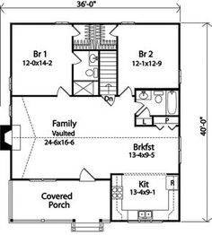 The Radford Country Cabin Home has 2 bedrooms and 2 full baths. See amenities for Plan 058D-0176.