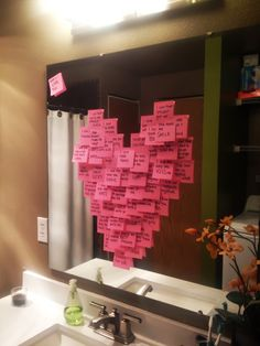 "Cute Valentine's Day idea!  ""My husband's love language is words of affirmation. This morning I woke and left the house before him so that when he woke up he would find tons of post-its of all the reasons why I love him left all over the house."""