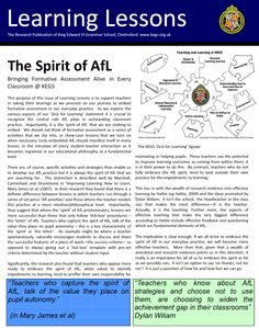 These issues of Learning Lessons describe a range of strategies for bringing formative assessment alive in every classroom. Click this image to view the pdf online via Issuu: The next issue in the… Assessment For Learning, Formative Assessment, Solo Taxonomy, Research Publications, Teaching Tips, Inspire Me, Art Lessons, Self, Classroom