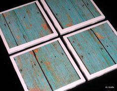 Tile Coasters Coasters Rustic Coaster Turquoise by KimLKrafts