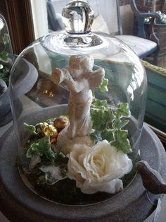 cherub & rose : ) Use an old birdbath tray Glass Bell Jar, The Bell Jar, Glass Domes, Bell Jars, Cloche Decor, Angel Decor, Valentine Crafts, Valentines, Apothecary Jars