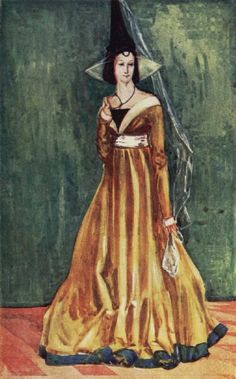 """20th cent. interpretation of a woman of the time of Edward IV (1461-1483). Scan from """"English Costume"""" (Calthrop). """"She wears the high hennin from which hangs a wisp of linen. On her forehead is the velvet frontlet, and across her forehead is a veil stretched on wires."""""""