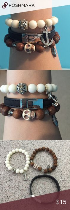 Set of 3 bracelets! Anchor, skull, black leather Three cute bracelets looks great together or separate! Express Jewelry Bracelets