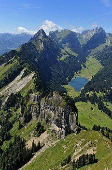 Hoher Kasten, Sämtiersee and Säntis. Appenzell. Eastern Switzerland.