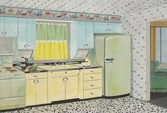Youngstown Steel cabinets... so much goodness in this kitchen. Yellow cabinets, blue cabinets, green appliances...