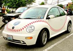 What could possibly be better than my little VW Bug?! A BaSeBaLl Beetle!! LOVE IT! (hope it has tan leather seats!)
