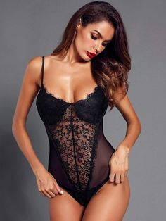 32543ccd8e Eyelash Lace   Mesh Teddy Bodysuit