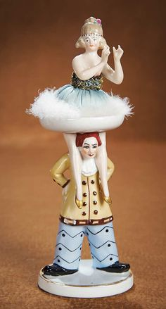 """The Vanity Fair - Strong Museum Half Dolls: 350 German Porcelain Half Doll on Porcelain Base """"The Red-Haired Clown"""""""