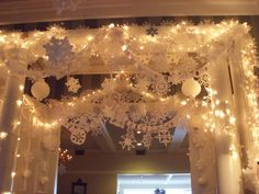 The snowflake display I showed you yesterday was based on a project my kids and I work on every year at home - sparked by the movie Elf . Ward Christmas Party, Office Christmas Party, Xmas Party, Christmas Elf, White Christmas, Christmas Hallway, Christmas Store, Elf Decorations, Office Christmas Decorations