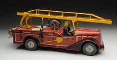 French Tin Litho Fireman Ladder Truck.