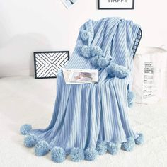 Blanket Description Our Pom Pom Cotton Blanket is a perfect blanket to add to your home and features extra soft material! This blanket comes in 40 by 60 inches and 60 by 80 inches and is made from the highest quality materials. Available size: 50 x 60 inches and 60 x 80 inches Super Soft - 100% cotton, lightweight and fade-resistant Design: Pom Pom Machine wash with cold water. Perfect for any room! Fuzzy Blanket, Blue Blanket, Cotton Blankets, Cozy Blankets, Light Blue Bedding, Blue Throws, Soft Purple, Knitted Blankets, My New Room