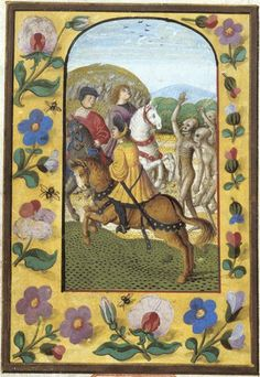Medieval Manuscripts Depict A Terrifying Tale Of The Walking Dead Miniature of the Three Living and the Three Dead, Germany, first half of the century Medieval Life, Medieval Art, Renaissance Art, History Medieval, Ancient History, Medieval Manuscript, Illuminated Manuscript, Illuminated Letters, Memento Mori