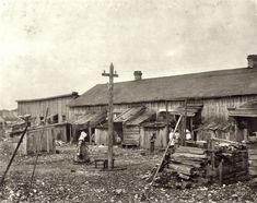 """February 1912. Port Royal, South Carolina. """"'We give them houses to live in"""". About 50 persons housed in this miserable row of dilapidated shacks located on an old shell-pile and partly surrounded by a tidal marsh. Maggioni Canning Co. Lewis Wickes Hine."""