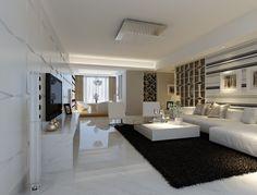 Modernes Wohnzimmer mit Marmorboden und schwarzem Shaggy-Teppich