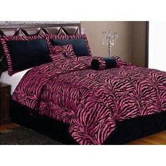 I found '7 PC MODERN BLACK HOT PINK ZEBRA FLOCK COMFORTER SET / BED IN A BAG - FULL SIZE BEDDING' on Wish, check it out!