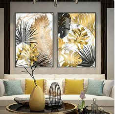 Nordic Tropical Gold Leaves Abstract Wall Art Posters Fine Art Canvas Prints For Modern Office Or Apartment Pictures For Living Room Decor is part of Poster wall art Nordic Tropical Gold Leaves Abst - Living Room Pictures, Wall Art Pictures, Modern Pictures, Plant Pictures, Modern Room, Modern Decor, Modern Interior, Modern Wall Art, Contemporary Wall Decor