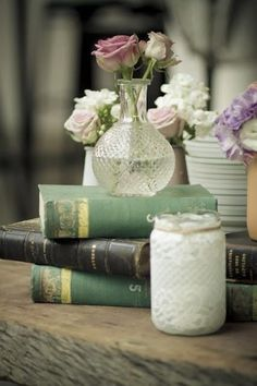 Vintage wedding ideas.  Find vintage books and jars at Railroad Towne Antique Mall, 319 W. 3rd St, Grand Island, NE, 308-398-2222