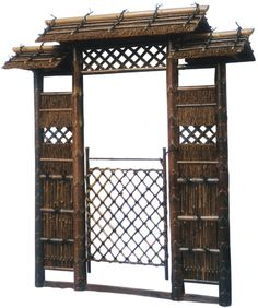 Red Lantern (Common: x Actual: x Oriental Furniture Brown Bamboo Pyramid Garden Fence Gate at Lowe's. Elaborate Japanese style garden gate combining wood, natural fiber, and bamboo. Bamboo-lined thatched roofs, open latticework, and bamboo panels house a Japanese Gate, Japanese Bamboo, Japanese Garden Design, Japanese House, Japanese Style, Japanese Gardens, Bamboo Panels, Bamboo Fence, Art Zen