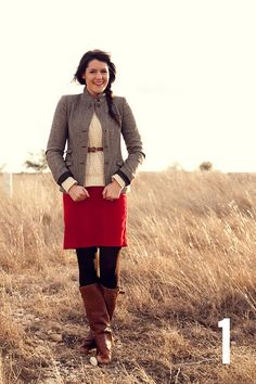 this looks so warm, even with a skirt. love the chunky sweater and skinny belt together... and the skirt... and blazer... and hair... :)