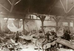 the statue of Liberty under construction in Paris (1875-1884). the full parts of statue arrived in New York later in June 1885.