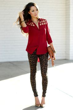 cut out shirt with leopard jeans