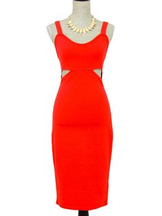 Show the Way Cutout Midi Dress - Red - $50.00 | Daily Chic Dresses | International Shipping
