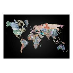 World Money Fiat Currency Map Poster