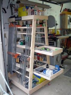 Top 80 Best Tool Storage Ideas - Organized Garage Designs Storage Shed Organization, Diy Garage Storage, Garden Tool Storage, Workshop Storage, Storage Ideas, Lumber Storage, Wall Storage, Woodworking Shop Layout, Woodworking Projects