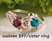 Friendship Ring BFF Ring BFF Jewelry Teen Jewelry Gift for Teen Girl Unique Gift Ideas Unique Ring Crystal Ring Wire Wrapped Jewelry Handmad