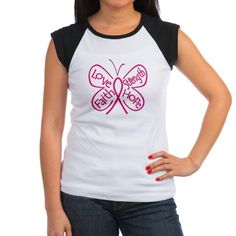 Breast Cancer Butterfly Love, Faith, Strength and Hope shirts and gifts by www.gifts4awareness.com #breastcancer #cancerawareness