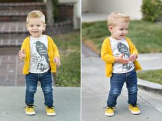 Toddler boy style: cardigan, jeans, hi tops, and a cute tee!