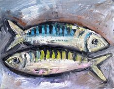 Abstract Fish Painting oil on panel by DevinePaintings on Etsy, $42.00