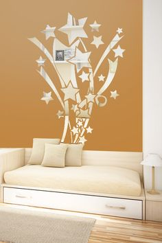 Stars and Ribbons Reflective Wall Decal by WALLTAT.com