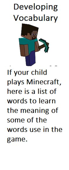 Minecraft reading passage readingla pinterest reading does your child play minecraft this is a list of words used in the game fandeluxe Image collections