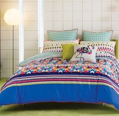 Tosca Quilt Cover Set by Kas Tosca Quilt Cover Set by Kas is Dynamic geometric, bold and new, a mosaic of bright blocks of colour awakens the senses. Quilt Cover Sets, Quilt Sets, Tribal Bedding, Queen Quilt, Linen Bedding, Bed Linen, Guest Bedrooms, Bed Furniture, Soft Furnishings
