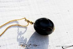 Collar dorado con Onix de Laurita la Complementos por DaWanda.com