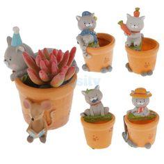 Cat Design Succulent Plant Planter Flower Pot Home Garden Decor 5 Types
