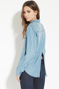 840945857f ASOS COLLECTION ASOS Denim Shirt Dress with Patch Pocket in Light Mid Wash