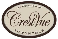 Townhome sign for Crestvue community. Oval routed hdu. Script lettering. Brown and cream stain. Silver enamel inline. www.customoutdoorwoodensigns.com