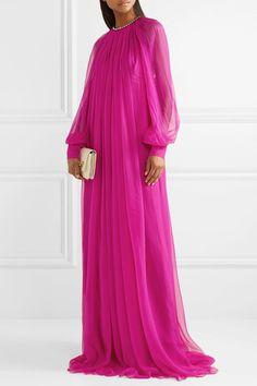 Gucci Gathered crystal-embellished silk-chiffon gown in Pink-Magenta Abaya Fashion, Muslim Fashion, Couture Fashion, Floryday Vestidos, Vestidos Color Rosa, African Fashion Dresses, African Dress, Fashion Outfits, Gucci Gown