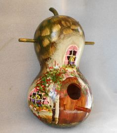 Bird House Gourd Original Hand Painted Green Cottage by HouseOfGourds on Etsy