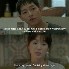 Lots of girls' fantasies about soldier in one drama. Korean Drama Funny, Korean Drama Best, Korean Drama Quotes, Korean Dramas, Korean Actors, Song Hye Kyo, Song Joong Ki, Decendants Of The Sun, Moorim School