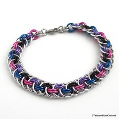Bi pride bracelet, chainmaille Viper Basket weave, $35.00 by TattooedAndChained