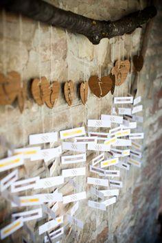 Tableau di nozze artigianale con nomi appesi: trova qui chi può realizzarlo per te >> http://www.lemienozze.it/operatori-matrimonio/partecipazioni_e_tableau/